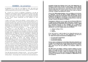 Hobbes - le Léviathan: analyse des chapitres 11 à 16