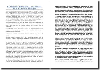 Le Prince de Machiavel- La naissance de la modernité politique: analyse de chapitres