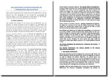 Les sanctions conventionnelles de l'inexécution des contrats