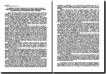 Fiche de lecture - Fabien Mescler - La politique régionale européenne - vers une remise en cause du principe de converge