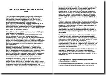 Commentaire comparé: Chambre commerciale 5 avril 2005 & Ass., Plen. 6 octobre 2006