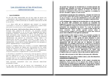 Les circulaires et les directives administratives