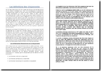 Les définitions et les dimensions de la citoyenneté selon les Etats et les histoires nationales