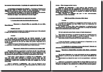 Les sources internationales : le principe de supériorité des Traités