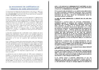 Le mouvement de codification et l'absence de code administratif