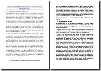 Les sources textuelles nationales du droit administratif