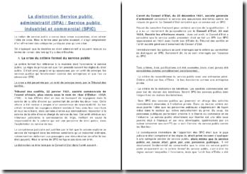 La distinction Service public administratif (SPA) / Service public industriel et commercial (SPIC)