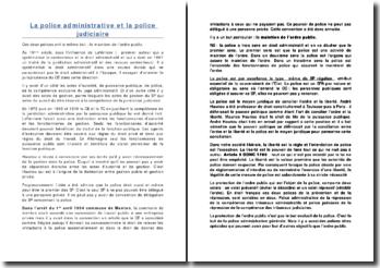 La police administrative et la police judiciaire