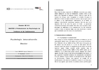 Psychologie interculturelle: le traité du malentendu