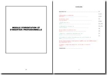 Professeur des écoles: module d'orientation et d'insertion professionnelle