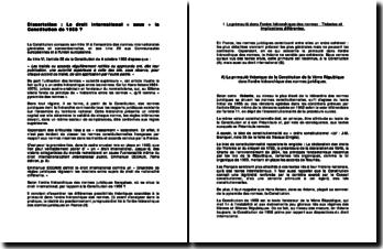 Le droit international « sous » la Constitution de 1958