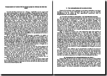 Commentaire de l'article 520 de l'avant projet de réforme du droit des biens