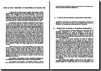 Les conditions d'applications directes d'une directive en droit interne: l'arrêt Cohn-Bendit