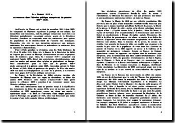 Le « Moment 1830 », un tournant dans l'histoire politique européenne du premier XIXème siècle.