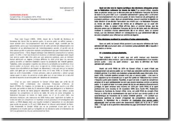 Commentaire d'arrêt : Conseil d'Etat, 22 novembre 1974, FIFAS (Fédération des Industries Françaises d'Articles de Sport)