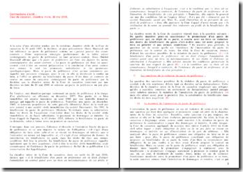 Commentaire d'arrêt : Cour de cassation, chambre mixte, 26 mai 2006 - Quelle est l'incidence de l'inexécution du pacte de préférence sur le contrat de vente?