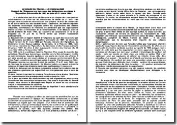 Le monde du travail: le syndicalisme. Rapport de l'Empereur sur les voeux des délégations ouvrières à l'Exposition Universelle de 1867 en date du 31 mars 1868