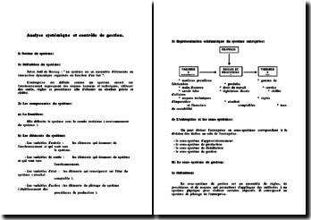 L'analyse systémique du contrôle de gestion