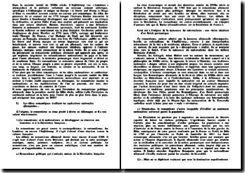 Evolution du nationalisme et le romantisme en Allemagne dans la première moitié du XIXe siècle