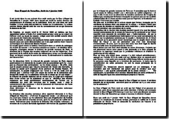 Cour D'appel de Versailles, Arrêt du 7 janvier 1987: l'erreur sur la substance