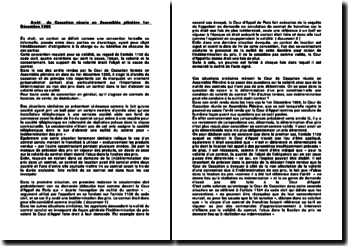 Arrêt de Cassation réunie en Assemblée plénière 1er Décembre 1995