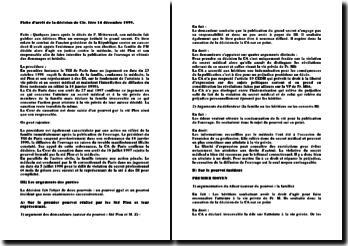Fiche d'arrêt de la décision de Civ. 1ère 14 décembre 1999: arrêt Mitterand