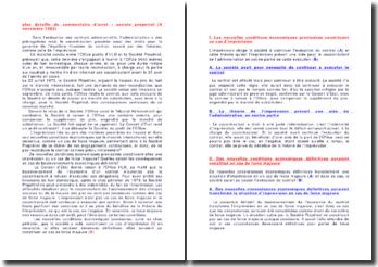 Plan détaillé du commentaire d'arrêt : société propetrol (5 novembre 1982)