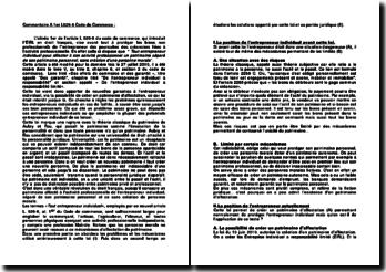 Commentaire A 1er L526-6 Code de Commerce
