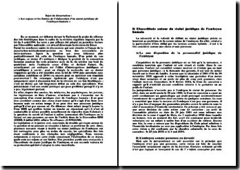 Les enjeux et les limites de l'élaboration d'un statut juridique de l'embryon humain