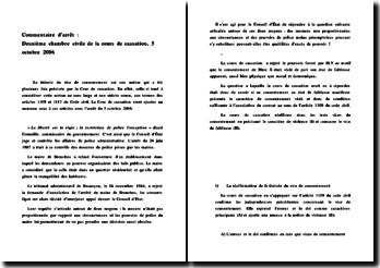 Commentaire d'arrêt : Deuxième chambre civile de la cours de cassation, 5 octobre 2006