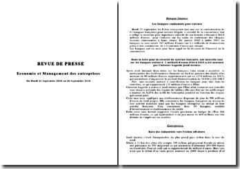 Revue de presse économie et management du 21 au 28 septembre 2010