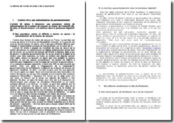 La réforme de l'article 49 alinéa 3 de la Constitution