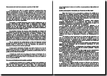 Commentaire de l'arrêt de la chambre sociale du 27 Mai 1997