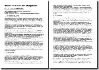 Histoire du droit des obligations : Les contrats LITTERIS
