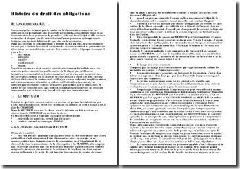 Histoire du droit des obligations : Les contrats RE