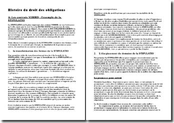 Histoire du droit des obligations Les contrats VERBIS : l'exemple de la STIPULATIO