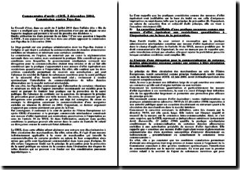 Commentaire d'arrêt : CJCE, 2 décembre 2004, Commission contre Pays-Bas