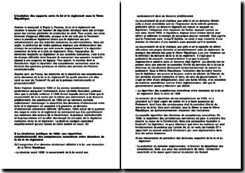 L'évolution des rapports entre la loi et le règlement sous la Vème République