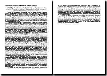 Morphologie de la Révisions Générale des Politiques Publiques une mise en perspective historique et comparative - Philippe Bezes, résumé du texte