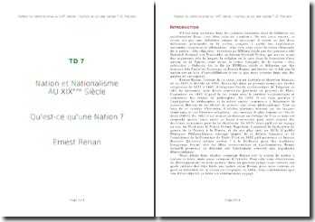 Nation et Nationalisme au XIXème Siècle. Qu'est-ce qu'une Nation ? Ernest Renan