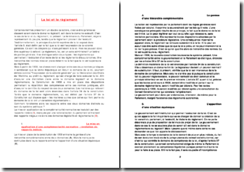 Comment fonctionnent les rapports entre la loi et le règlement au sein du système politique?