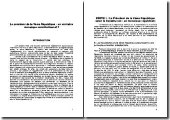 Le président de la Vème République : un véritable monarque constitutionnel ?