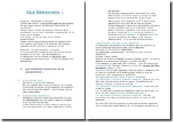 Les modalités d'exercice de la démocratie
