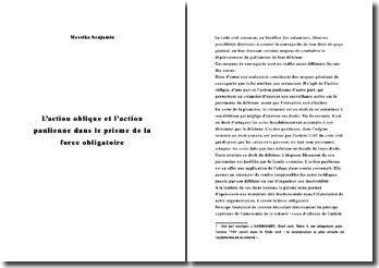 L'action oblique et l'action paulienne dans le prisme de la force obligatoire