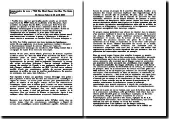 Commentaire de texte : Will The Mind Figure Out How The Brain Works? de Steven Pinker le 10 avril 2000