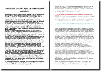 Commentaire des décisions des 16 juillet 1971 et 27 décembre 1973 du conseil constitutionnel