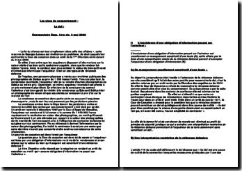 Les vices du consentement : Le dol Commentaire Cass. 1ère civ. 3 mai 2000