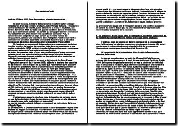 Commentaire d'arrêt :Arrêt du 27 Mars 2007, Cour de cassation, chambre commerciale