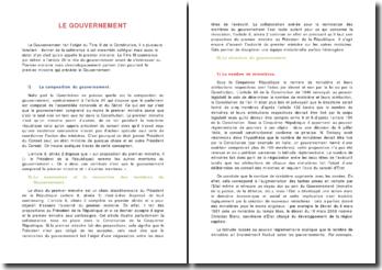 Le gouvernement : sa composition