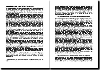 Commentaire d'arrêt : Cass. civ. 3ème, 26 juin 1973 : La requalification des conventions litigieuse